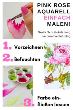 Painting rose with watercolor paints - so nice - Aquarell Malen Watercolor Rose, Watercolour Painting, Watercolors, Sculpture Art, Sculptures, Gratis Download, Step By Step Painting, Watercolor Techniques, Colour Schemes