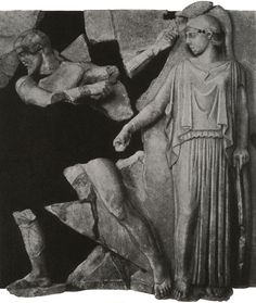 Athena and Heracles. Metope from the Temple of Zeus, Olympia. 5th century B.C.Olympia, Archaeological Museum. Heracles cleaning the stables of Augia.