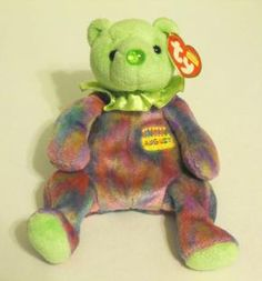TY BEANIE BEARS  HAPPY BIRTHDAY – AUGUST    CUTE BEAR - PART OF THE BIRTHDAY   BEANIES COLLECTORS    My nose is the color of my birthstone. Peridot It brings romance, loyalty and laughter!    APPROX. MEASUREMENTS 7 INCHES TALL   NEW WITH TAGS MINT  This ...