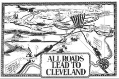 All Roads Lead to Cleveland, Cleveland Plain Dealer June 21, 1936  |  Cartoonist Walter Hagemann captured the enthusiasm of the Great Lakes Exposition in his Plain Dealer cartoon showing visitors streaming into Cleveland from all over the country.