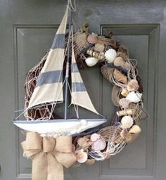 Nautical wreath | seashells and ship