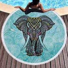 150cm India Elephant Printing Round Polyester Summer Beach Towel Yoga Carpet With Tassel