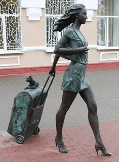 Street sculpture-The traveller,Vitebsk railway,Belarus