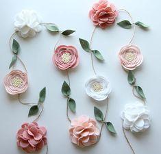 Wool Felt Flower Garland | Floral Garland | Party Garland | Coral and Blush Garland | Nursery Decor