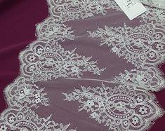 Off white lace Trim French Lace Chantilly Lace Bridal Gown lace Wedding Lace White Lace Veil lace Scalloped Lingerie Lace EVSL122