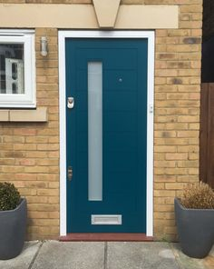 Modern Blue Front Door - London Door Company - Beautifully made and elegantly finished Contemporary door with opaque glazing feature and chrome door furniture.