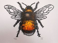Bumble Bee Lino Print Lino Cut by Tournesollinoprints on Etsy