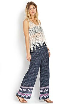 Elephants and wide leg? Yes, please. / Elephant Escape Wide-Leg Pants | FOREVER 21 - 2000105898