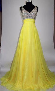 Women's Formal V-neck Rhinestones beaded Long Evening Gown prom dress $399 #Meier #EmpireWaist #Formal