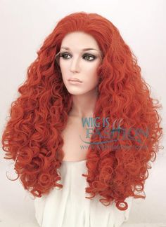 """18""""-26"""" Long Spiral Curly Reddish Orange Customizable Lace Front Synthetic Hair Wig LF663J"""