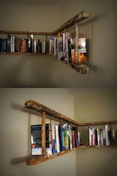 alte holzleiter wandregal selber machen make old wooden ladder wall shelf yourself Pin: 600 x 901 Old Wooden Ladders, Ladder Bookshelf, Bookshelf Ideas, Bookshelf Design, Shelving Ideas, Creative Bookshelves, Storage Ideas, Ladder Shelf Diy, Old Ladder Decor