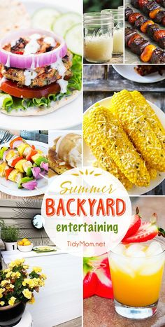 Summer Backyard Entertaining ideas and recipes. From DIY Citronella Candles and a pallet bar to corn on the cob, burgers, cocktails, kabobs and more!