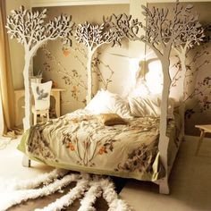 Modern fairytale Woodland Bed. Bed posts are Laser or CNC cut to tree shape. Hand sanded and finished with white translucent wax. Dovetail joints.