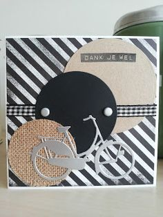 Male thank you or birthday Masculine Birthday Cards, Masculine Cards, Bicycle Cards, Happy Wishes, Boy Cards, Marianne Design, Scrapbook Sketches, Making Ideas, Cardmaking