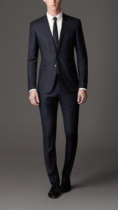 Modern Fit Windowpane Check Virgin Wool Suit   Burberry