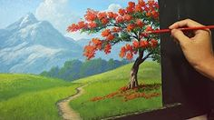 Acrylic Landscape Painting Lesson - The Fire Tree by JMLisondra Acrylic Painting For Beginners, Simple Acrylic Paintings, Acrylic Painting Techniques, Beginner Painting, Painting Videos, Painting Tips, Acrylic Landscape, Watercolor Landscape, Landscape Paintings