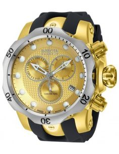 Invicta Reserve Venom Gold-Tone Swiss Movement Chronograph Watch For Men. Invicta Watches For Men/Boyfriend. Men's Watches, Cool Watches, Jewelry Watches, Patek Philippe, Devon, Omega, Luxury Watches For Men, Stainless Steel Watch, Watch Brands