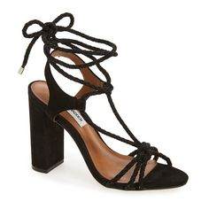 Women's Steve Madden 'Samarie' Ankle Tie Sandal ($130) ❤ liked on Polyvore featuring shoes, sandals, black nubuck, nubuck sandals, block heel sandals, ankle strap sandals, black ankle strap shoes and black ankle strap sandals