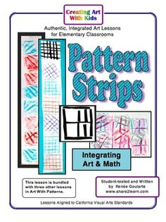 Pattern Strips - a math-integrated art lesson that focuses on pattern and texture. Writing extension, data recording, and skip-counting, too!