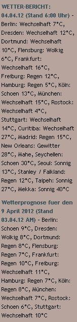 WETTER-BERICHT: 04.04.12 - http://www.schoeneswetter.com/wetterwuensche/wetter-2012/april-2012/wetter-4-april-2012.php