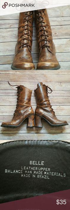 """Belle Leather Old Time Lace up Brown Boots 7M Great marbled leather vintage looking boot Very gently worn. No flaws  Boot length heel to top 11"""" Heel height 3.5""""  Bundle pricing available  Items ship within 1 business day  No trades Belle Shoes Heeled Boots"""