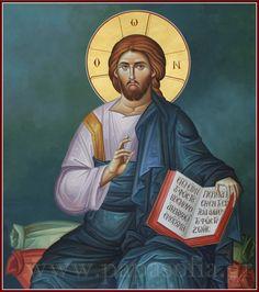 Ιησούς Χριστός Ένθρονος. Εικόνα της Σοφίας Παπάζογλου /  Jesus Christ Enthroned. Icon painted by Sofia Papazoglou.