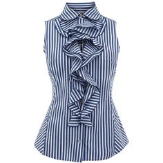 Karen Millen Stripe Ruffle Shirt Blue ❤ liked on Polyvore featuring tops, striped top, stripe top, blue striped shirt, frilly tops and flounce tops