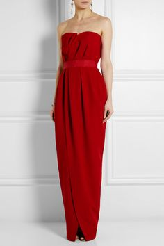 Lanvin Strapless Wrap-Effect Silk-Crepe Gown