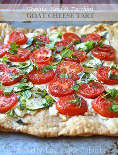 Tomato, Basil Zucchini Goat Cheese Tart