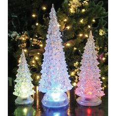 Banberry Designs LED Lighted Acrylic Christmas Trees Holiday Decoration Set of 3 Assorted Sizes 10 and H *** Learn more by visiting the image link. (This is an affiliate link) Top Christmas Gifts, Christmas Tree Garland, Led Christmas Lights, Modern Christmas, Christmas Tree Decorations, Holiday Decor, Holiday Crafts, Vintage Christmas, Home Decor Rustic Country