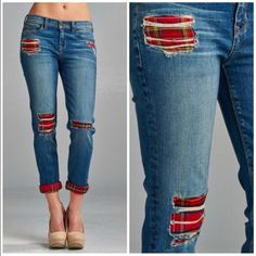 Distressed Boyfriend Jeans with Plaid Lining/Patch Accent and Cuffs!