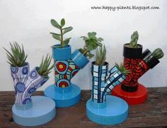 Mini herb or flower planters made from plumbing pipes