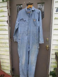8738f935a4ac3f Vintage BIG MAC JCPenny Denim Coveralls , 60s /70s distressed Coveralls ,  Mechanic Coveralls , Jumpsuit Mens 44 Large , Herringbone Denim