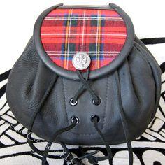 Royal Stewart Tartan Handmade Sporran Black Leather Thistle Button | celtique_creations - Leather Craft on ArtFire