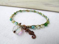 Crochet Seahorse Bracelet , Ocean Colors Friendship Bracelet, Seahorse Charm, Boho Beach Jewlery