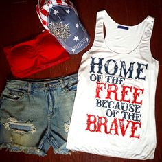 OOTD-'Home Of The Free' Tank, Distressed Shorts, Bandeau Bra & USA Floral Bling Baseball Hat by Jane Divine Boutique www.janedivine.com Memorial Day, 4th of July Outfit