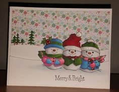 Art Impressions Rubber Stamps: Ai Christmas: Holly Jolly Set (Sku#4667) ... handmade winter card. Merry & Bright