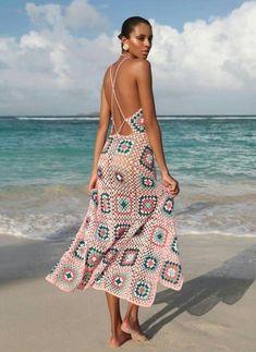 Yaz Festival Chic, Hippie Boho, Crochet Hippie, Crochet Beach Dress, Dress Beach, Crochet Dresses, Crochet Summer, Beach Dresses, Gilet Crochet
