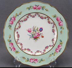 Set of 12 Spode Davis & Collamore Hand Painted Pink Rose Garland Plates C. 1913