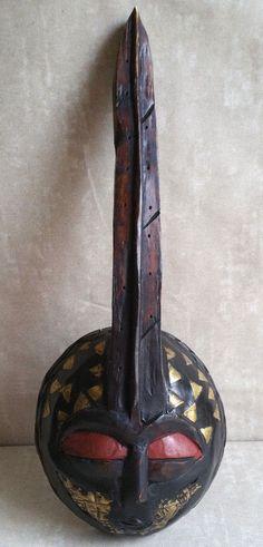 Vintage African Tribal Akan Brass Wood Mask Ghana Hand Carved Wall Folk Art