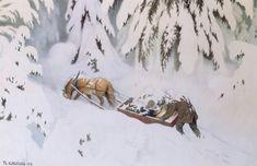 Christmas troll, 1907, Theodor Severin Kittelsen Troll, Horse Drawn, Art Database, Romanticism, Art Reference, Mythology, Illustration Art, Snow, Horses