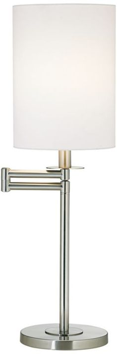 White Cotton Brushed Nickel Swing Arm 25-Inch-H Desk Lamp -