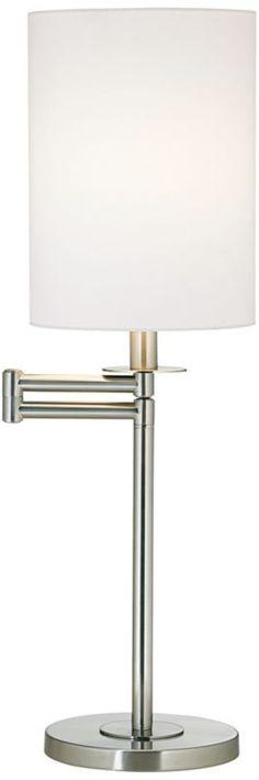White Cotton Brushed Nickel Swing Arm 25-Inch-H Desk Lamp -