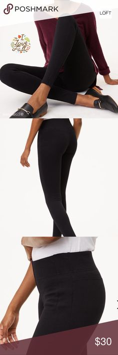 """🆕🌻🍁LOFT Petite Leggings in Seamed Ponte 🆕 Lofts most fitted legging is sleek and streamlined with a mid-rise. In super stretchy ponte, this have-to-have pair is endlessly flattering. Elasticized waist; back yoke; Seamed detail throughout. 25"""" seam. Bundle for discounted savings. LOFT Pants Leggings"""