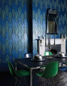 Beaded Peacock wallpaper by Matthew Williamson for Osborne & Little. Love everything Matthew Williamson! Peacock Wallpaper, L Wallpaper, Designer Wallpaper, Glamour Wallpaper, Interior Wallpaper, Textured Wallpaper, Room Interior, Matthew Williamson, Kitchens