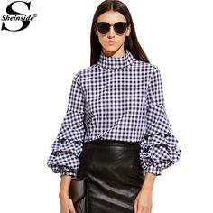 Gingham Cutout High Neck Billow Sleeve Top New Style Female 3/4 Sleeve Ruffle Blouse – avofashion.com