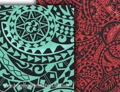 Polynesian fabric: Tapa and tribal tattoo patterns in red, black and greens. Lavalava, Aloha shirts and more. Check it out at HawaiianFabricNBYond.etsy.com