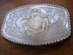 PURSE ANGEL PUTTI ITALIAN VICTORIAN CARVED MOTHER OF PEARL WEDDING COMMUNION