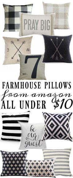 Farmhouse Style Pillows All Under $10