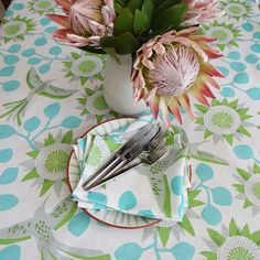 Protea Mandala - Turquoise - Table Cloths available online at www.carolenevin.com